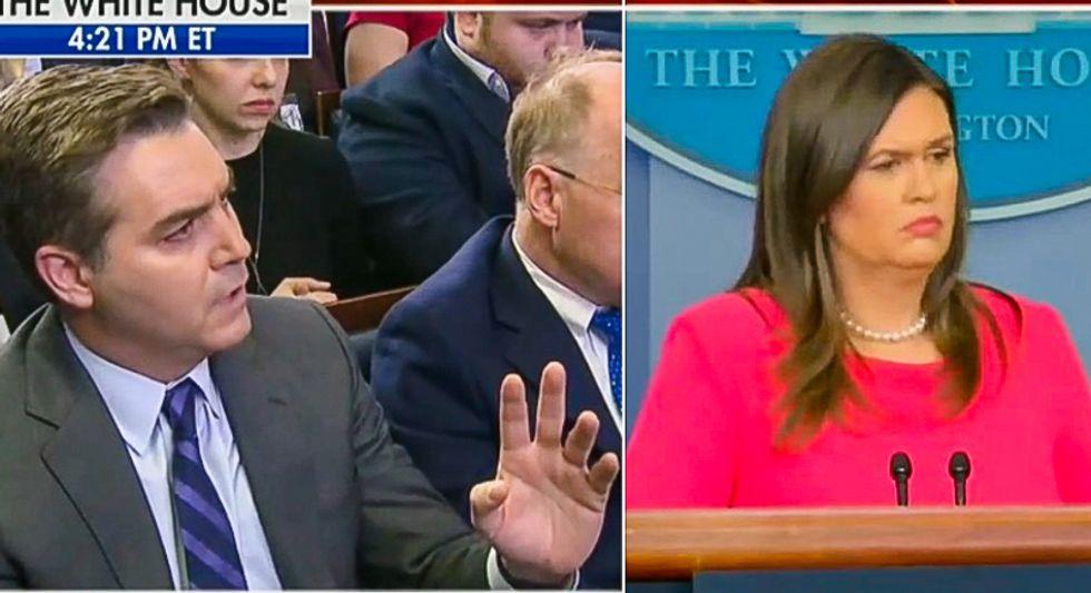 'This presidency is in danger': Jim Acosta grills Sarah Sanders as Russia investigation closes in on Trump