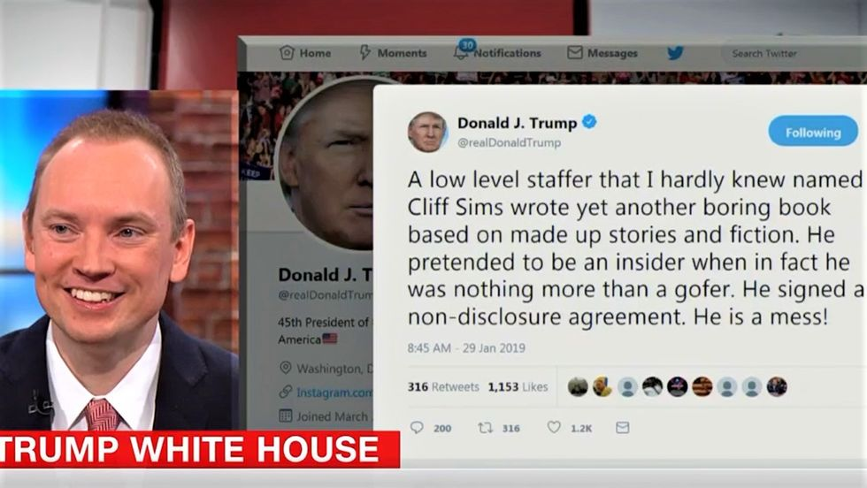 Ex-Trump aide Cliff Sims laughs as CNN reads him the president's angry tweet in real time