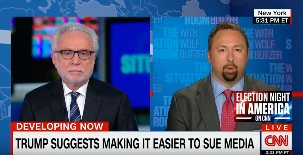 'You don't go after the First Amendment!': Wolf Blitzer slams Trump advocate for attacks on media