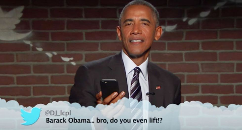 'Bro, do you even lift!?': President Obama hilariously reads 'mean tweets' on Jimmy Kimmel show