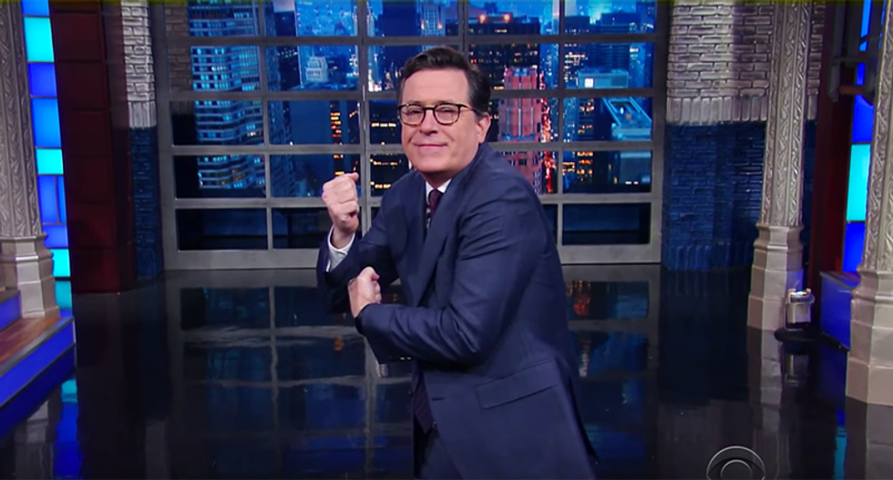 Colbert shocked after Trump 'groped the American flag': 'We salute the flag — we don't dry hump it'
