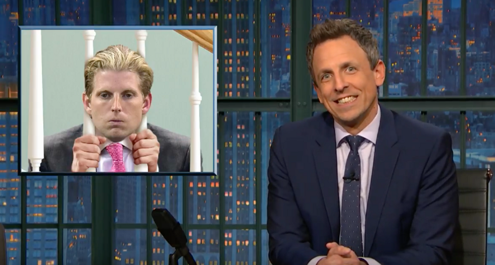 Seth Meyers taunts Don Jr's lengthy House intel hearing: 'Eric was unsupervised for 8 hours!'