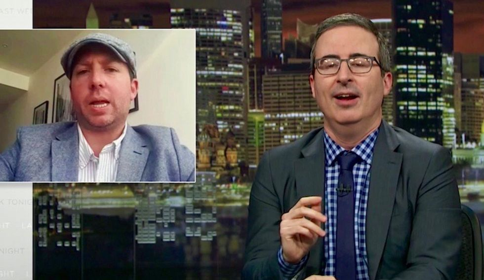 'A bloody brilliant rubbish fire to behold': John Oliver's mind blown by American who faked being British royal watcher