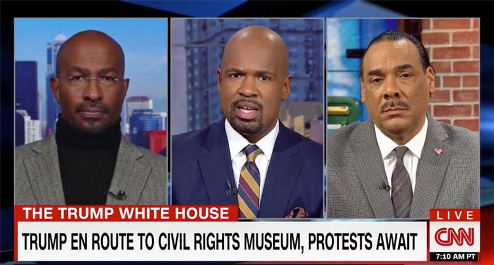 Watch Van Jones school a black Trump supporter unfazed by Trump's racist history