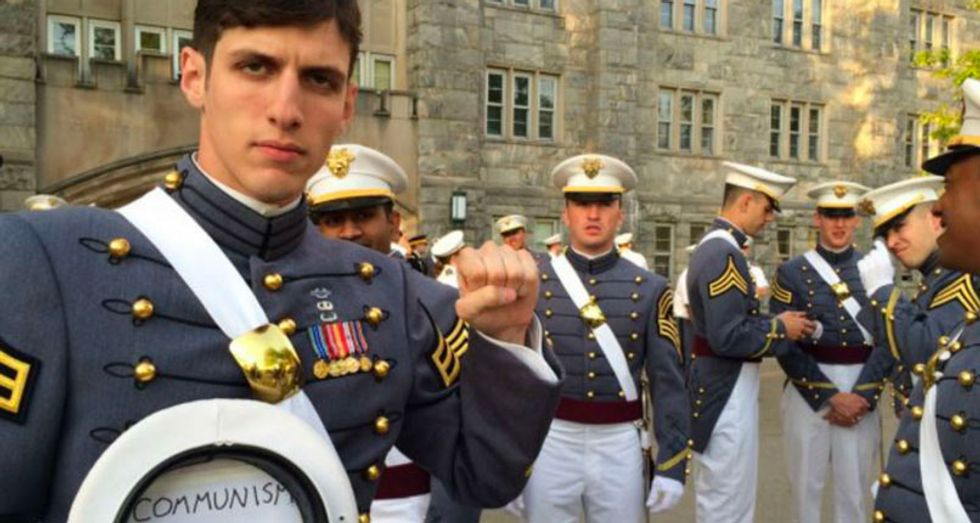 The Naval Academy took a shot at the 'Communist Cadet' during the Army-Navy game