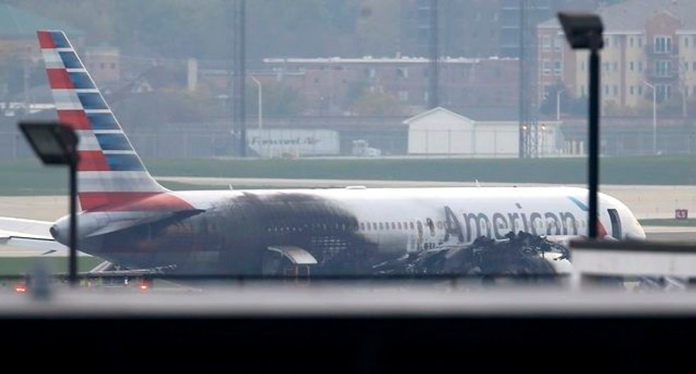 American Airlines jet blows tire, catches on fire at Chicago airport