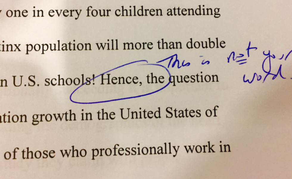 Professor accuses Latina student of plagiarism because she used the word 'hence' in essay, student claims