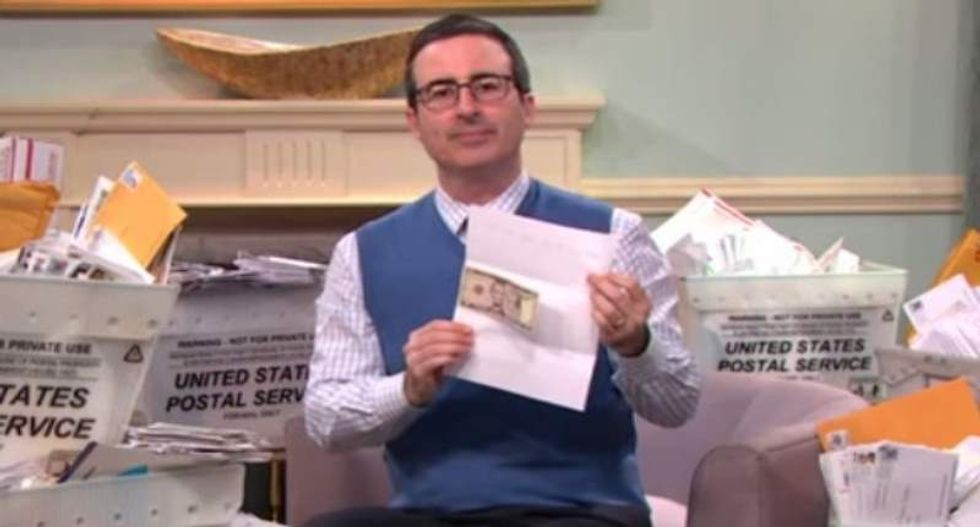 Giant seed bags and a $65 billion 'joke' check: John Oliver reveals his fake church's plentiful money harvest