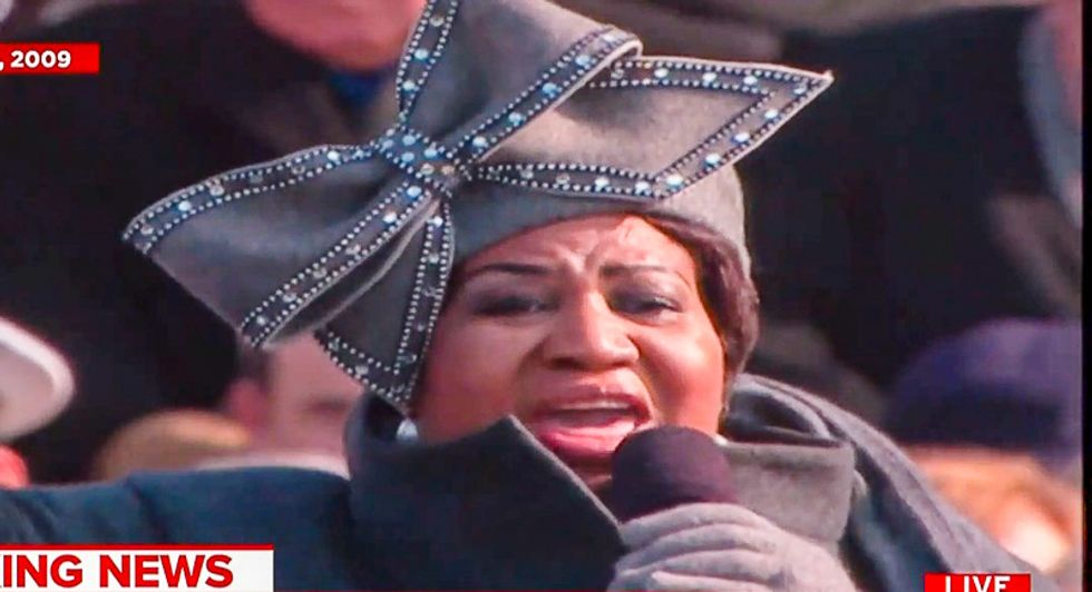 WATCH: MSNBC replays Aretha Franklin singing at largest inauguration in US history -- and it wasn't Trump's