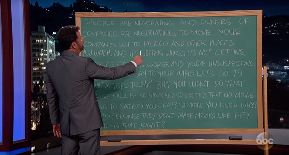 Jimmy Kimmel drives himself to madness trying to diagram a Trump word-salad sentence
