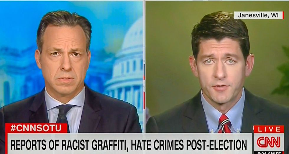 'Americans are terrified': Jake Tapper makes Paul Ryan answer for wave pro-Trump hate crimes