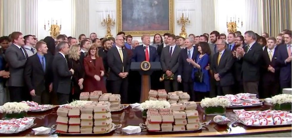 Trump serves Chick-fil-A and McDonald's to champion university football players at White House