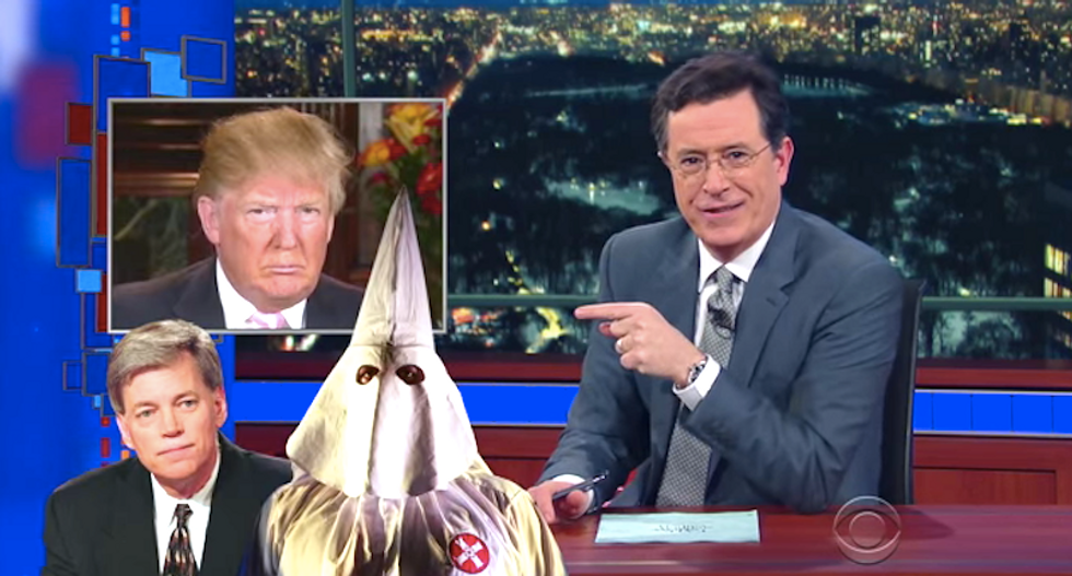 Colbert rips Trump for blaming KKK fumble on 'bad earpiece': 'Take responsibility for the mouthpiece'