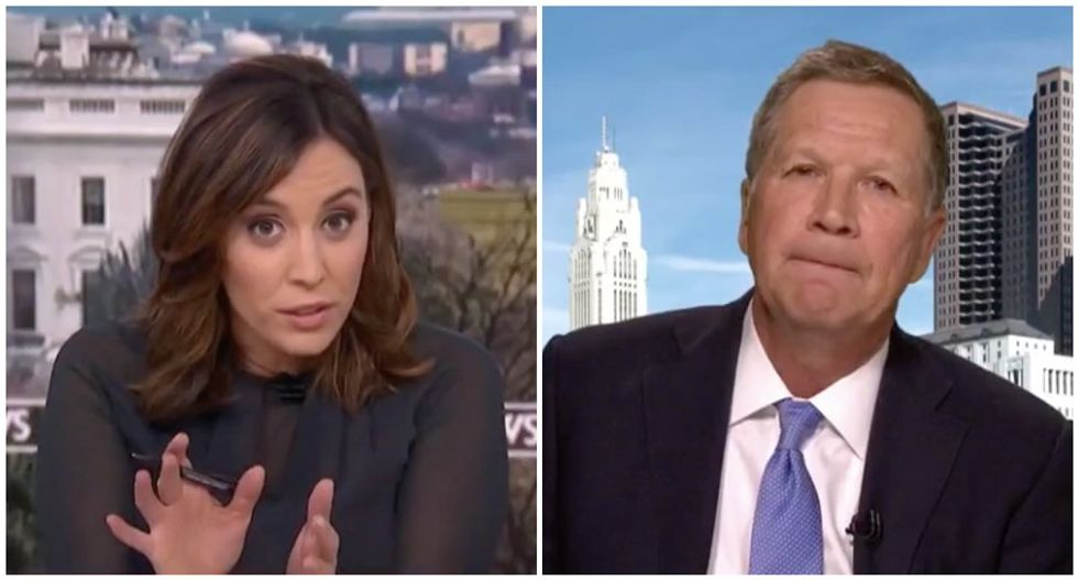'I don't call names': Watch John Kasich squirm when MSNBC's Hallie Jackson asks if Trump's racist