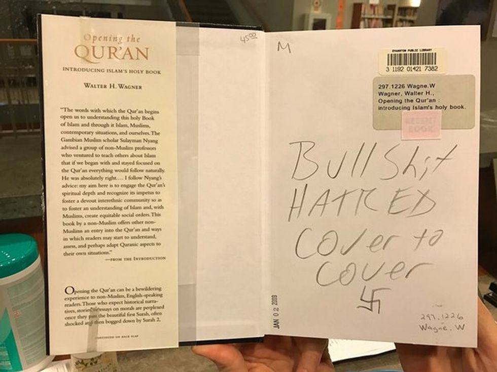 'Bullsh*t hatred cover to cover': Vandals deface Korans and books about Islam in libraries across US