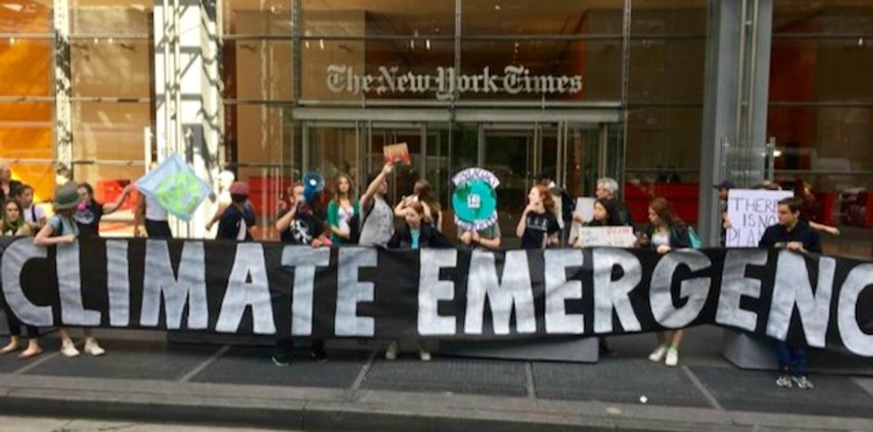 'Report the urgency! This is a climate emergency!': 70 arrested outside New York Times demanding paper treat climate like the crisis it is