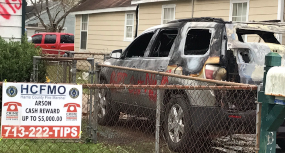 Man's SUV burned and home hit with 'n****r leave' graffiti in Houston suburb