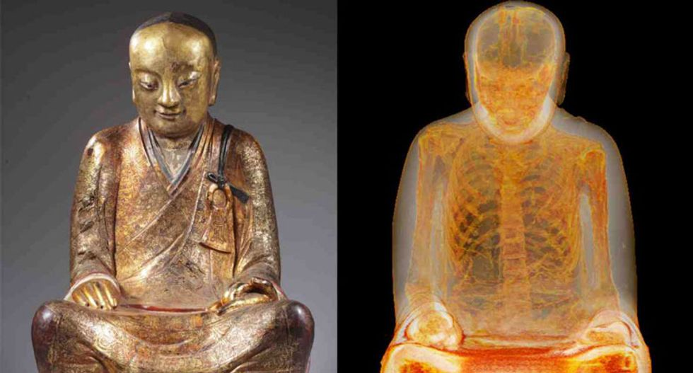 Scan reveals 1,000-year-old monk seated inside of Buddha statue