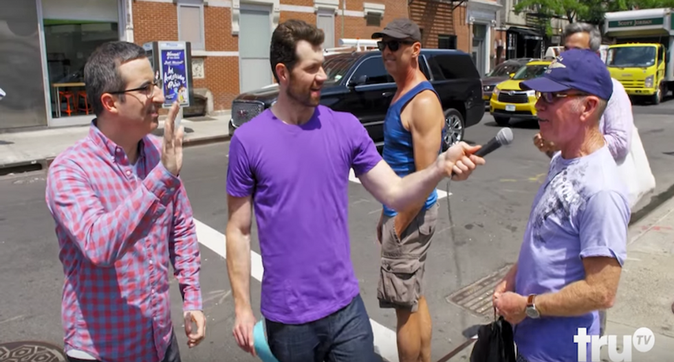 WATCH: Comedian takes John Oliver around New York to find out if gay people care about him