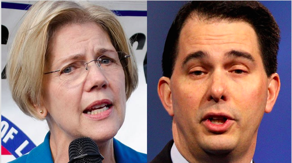 Elizabeth Warren and others smack down Scott Walker for equating labor unions to ISIS