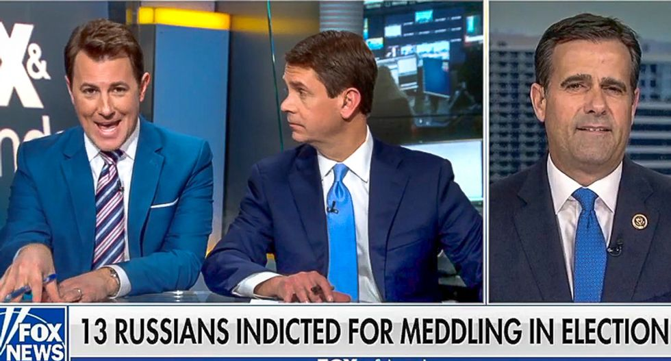 GOP rep. shuts down Fox hosts wanting Hillary jailed over Mueller's Russia indictments: 'There's nothing illegal'