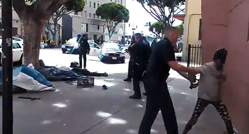 GRAPHIC FOOTAGE: LAPD officer shoots homeless man after responding to report of altercation