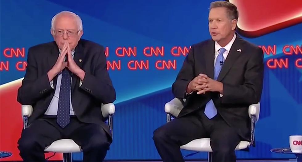 WATCH: Bernie Sanders debates John Kasich on CNN town hall