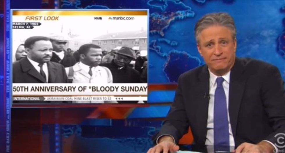 Jon Stewart rips Fox's Selma coverage: The 'white conservative victimization' angle was 'amazing'