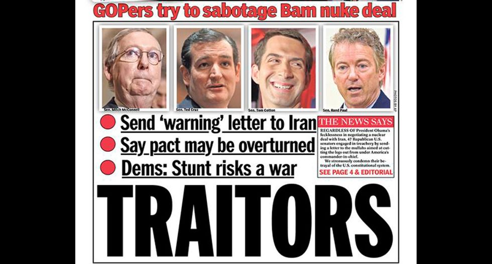 New York Daily News blasts Cotton, Cruz, McConnell, and Paul over Iran letter: 'TRAITORS'