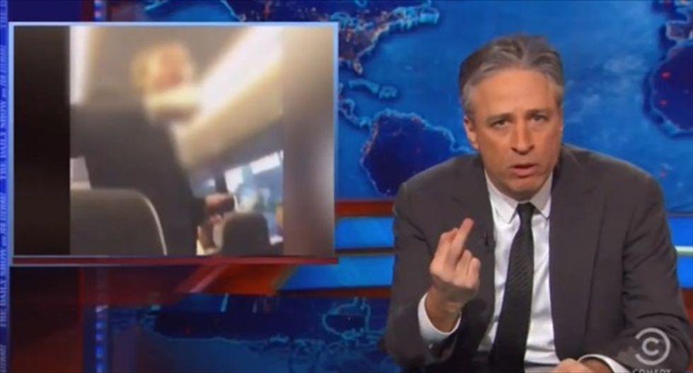 Jon Stewart destroys 'Morning Joe' for blaming racist Oklahoma fraternity on 'the hippity-hoppity'