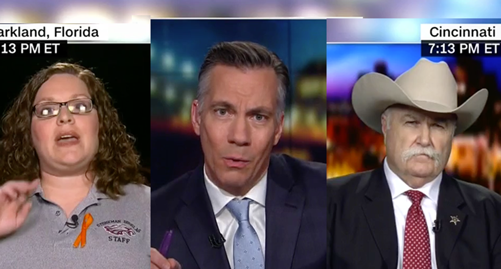 WATCH: NRA-loving sheriff goes down in flames when confronted by Parkland teacher who doesn't want to shoot anyone