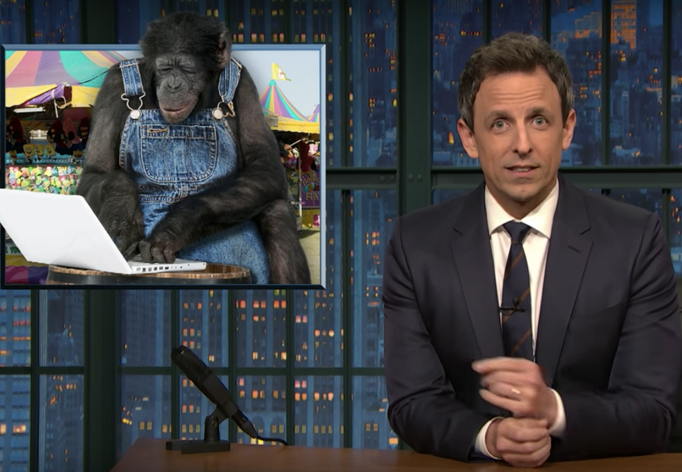 Seth Meyers compares Trump's 'unhinged' tweeting to the 'monkey at the state fair' who can type