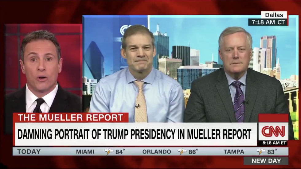 Mark Meadows bizarrely defends Trump by saying it's not a crime for Chris Cuomo to ask Jim Jordan to punch him
