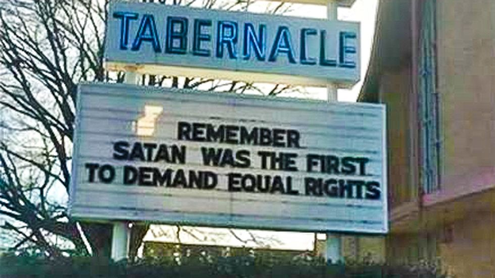 Tennessee church sign: 'Remember, Satan was the first to demand equal rights'