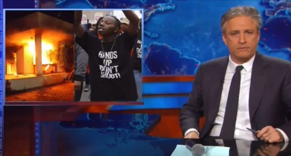 Jon Stewart drops the mic on Fox: Stop harping on Ferguson protests until you apologize for flogging Benghazi