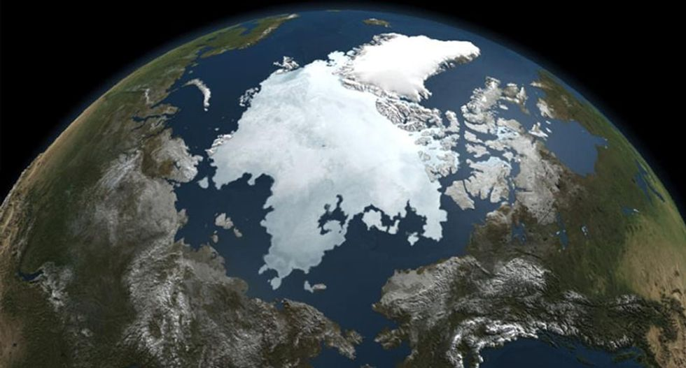Satellite observations show arctic sea ice has hit a record low