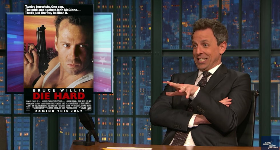Seth Meyers rips Trump's bizarre rant during White House gun meeting: 'He's at a rewrite table for a Die Hard movie'