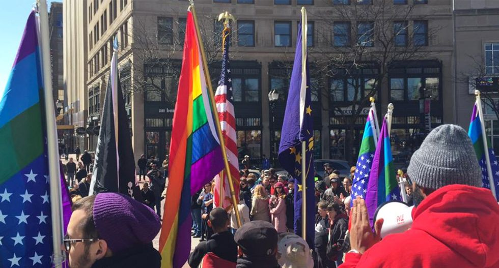 Thousands rally in Indianapolis to protest new anti-gay law: 'No hate in our state'