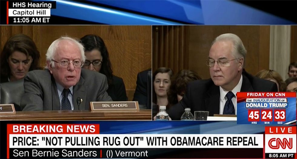 WATCH: Bernie Sanders hammers Trump's health nominee Tom Price on Medicare and Social Security
