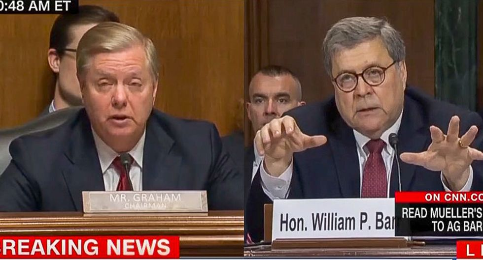 OOPS: Lindsey Graham gets Bill Barr to admit Trump can be charged for obstruction -- even if there's no collusion