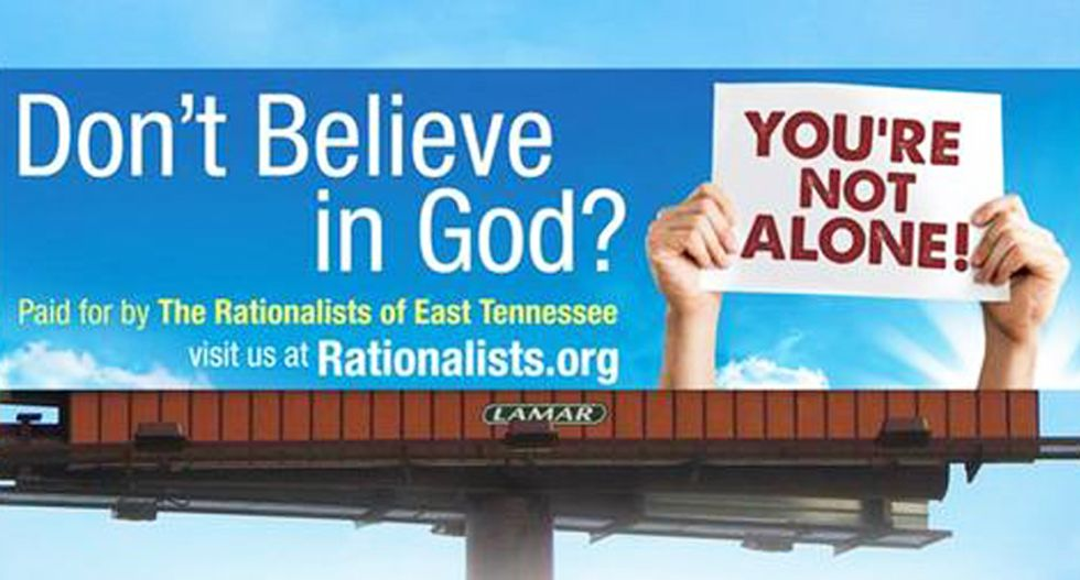 'Don't believe in God?' atheist billboard in Tennessee coming down after property owner complains