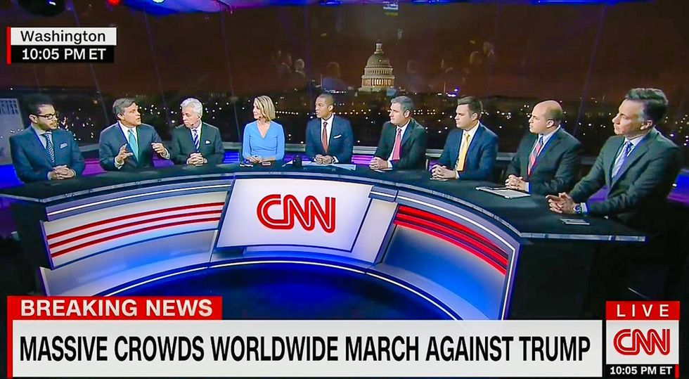 CNN covers historic Women's March with panel of eight men and one woman