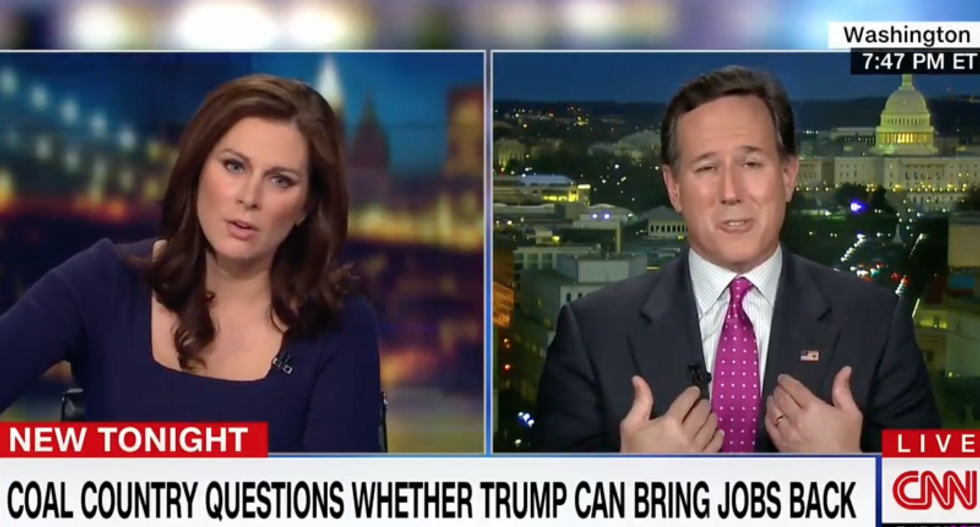 WATCH: Erin Burnett calls out Santorum's 'troubling' claim that Trump is 'oxygen in the lungs' of coal miners