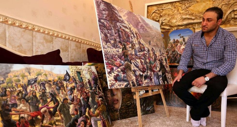 Depicting horror: Iraqi artist puts Islamic State's shocking atrocities against Yazidis to canvas