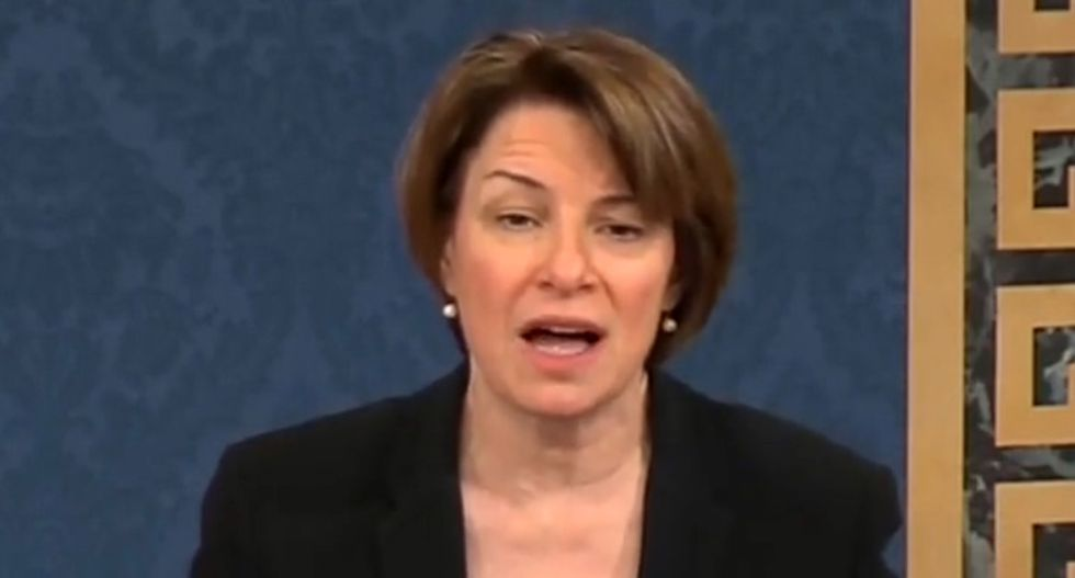 WATCH: Klobuchar uses Trump's own intel advisors to blast GOP's inaction on election security