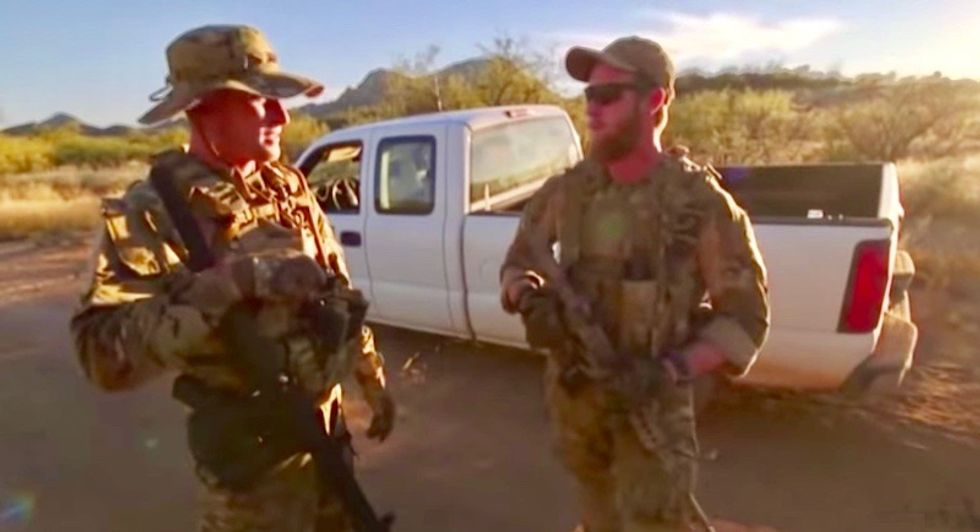 Armed rightwing militia 'en route' to border to stop 'invasion' using night vision goggles and drones