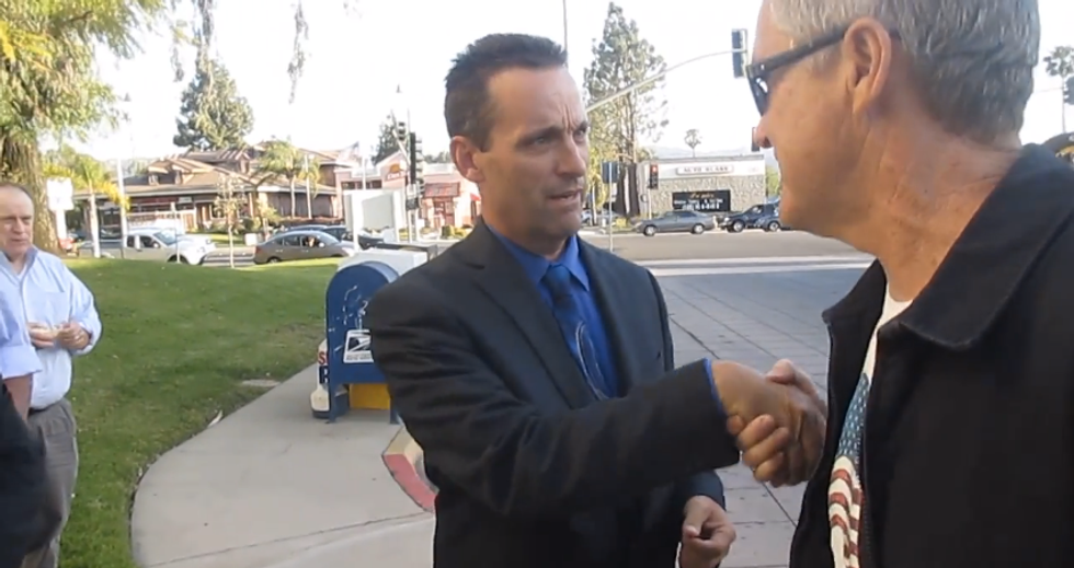 'I'll drop your ass': Video catches LAPD cop turned GOP congressman threatening protester