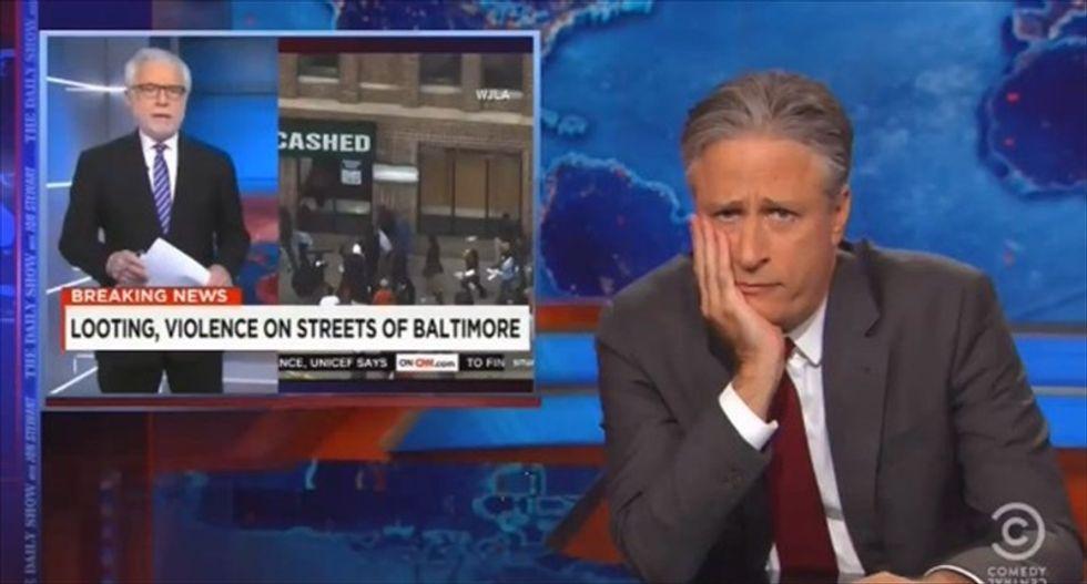 Jon Stewart slams Wolf Blitzer's 'shock' over Baltimore: 'Ferguson was just a few months ago'