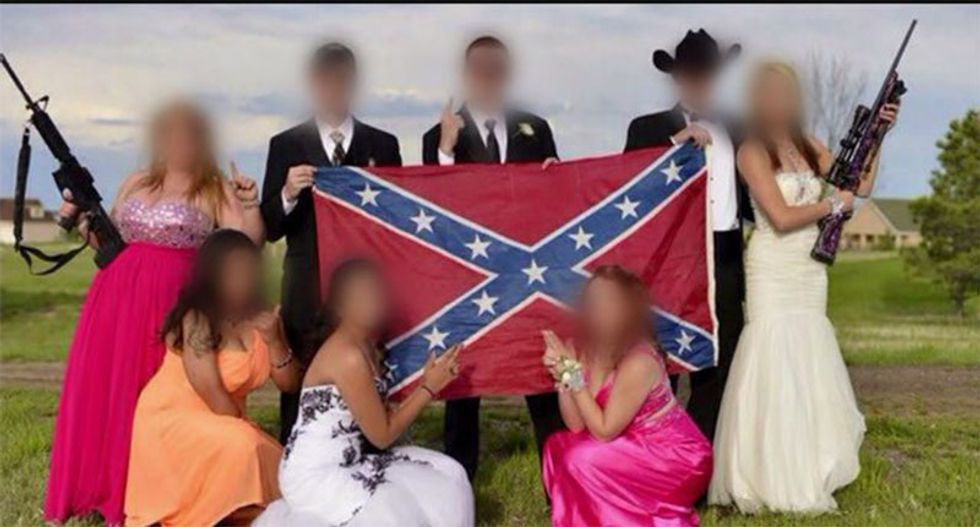 Gun-toting Colorado teens pose for prom pics with Confederate flag as parents egg them on