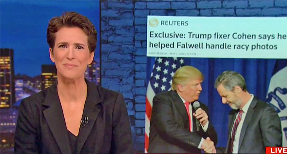 Rachel Maddow asks viewers to pause show to take a shower after her report on Jerry Falwell, Jr's sex picture scandal